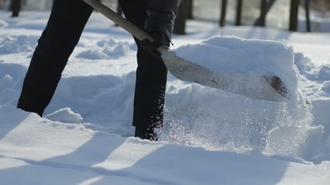 Man shoveling the snow from the path