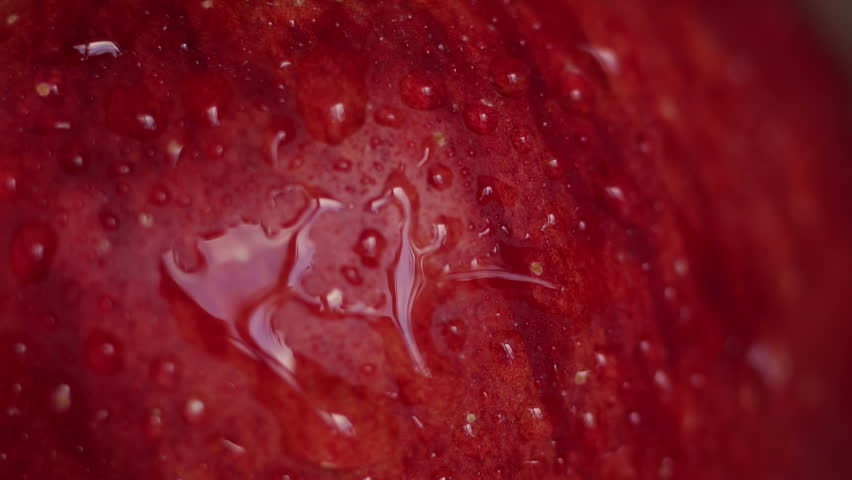 Close-up of splashing water on a red Apple. Close-up shot. Red wet apple with big droplet, macro shot.