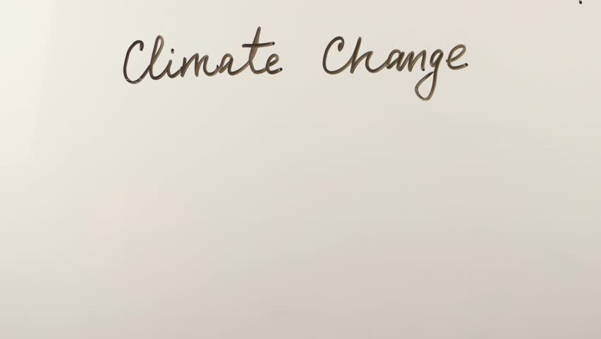 Man writes on the whiteboard the concept of climate change, methane,  nitrous oxide and carbon dioxide formulas    | Shutterstock HD Video #1008846053