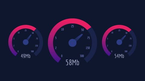 Three Speedometer Internet Speed 50 mb 100 mb 300 mb Pink Scale. Motion Graphics. Animation Video.
