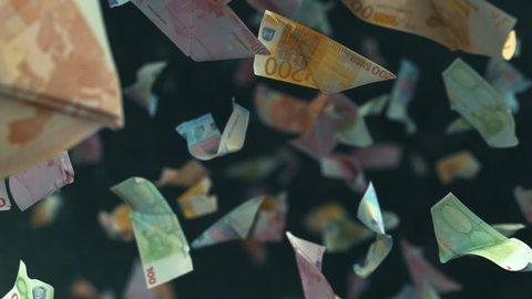 Falling Euro banknotes in 4K