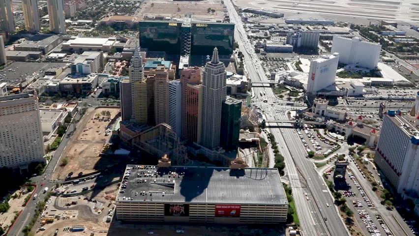 Las Vegas, USA July 2016. Aerial of the Las Vegas Strip, Panoramic showing the NewYorkNewYork Hotel and Casino and Excalibur Hotel and Casino.