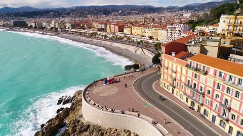 Nice, France, Aerial view of nice and the promenade des Anglais, Cote d'Azur, HD (1920X1080)