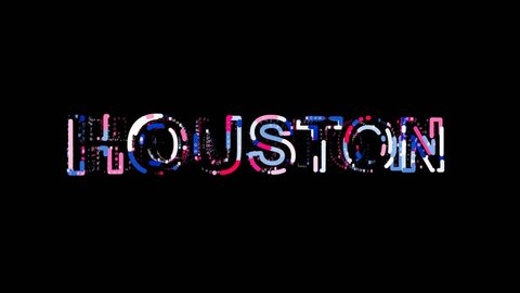 Letters are collected in Big city HOUSTON, then scattered into strips. Alpha channel Premultiplied - Matted with color black