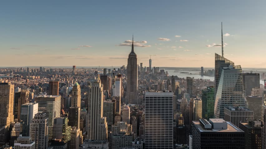 New York City Skyline Earth Hour Day to Night Sunset Timelapse Video, Rockefeller Center, Empire State Building, March 2018