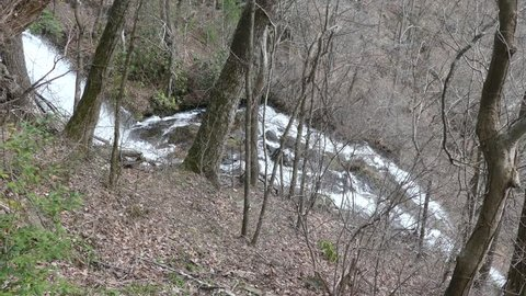 View of Amicalola Falls, including the view of the Appalachian Mountains from the top of the falls.