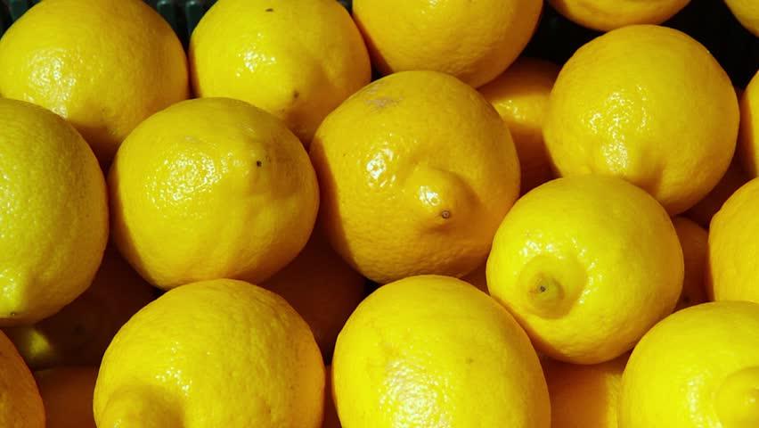 Lemon harvest. many fresh lemons. lemons top view | Shutterstock HD Video #1009046543