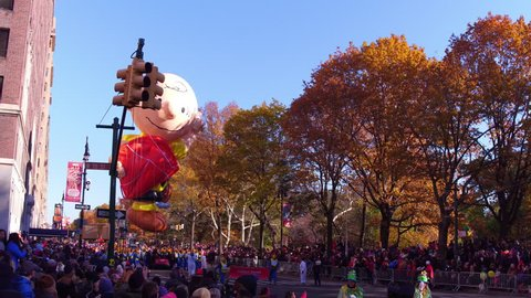 NEW YORK CITY, NY - NOVEMBER 23: Charlie Brown from Peanuts show Balloon in Macy's Thanksgiving Day Parade on November 23, 2017, in New York City, New York.