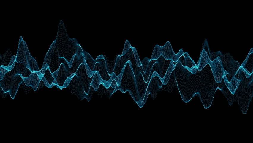 Abstract blue wave motion with black background.Abstract line and technology concept