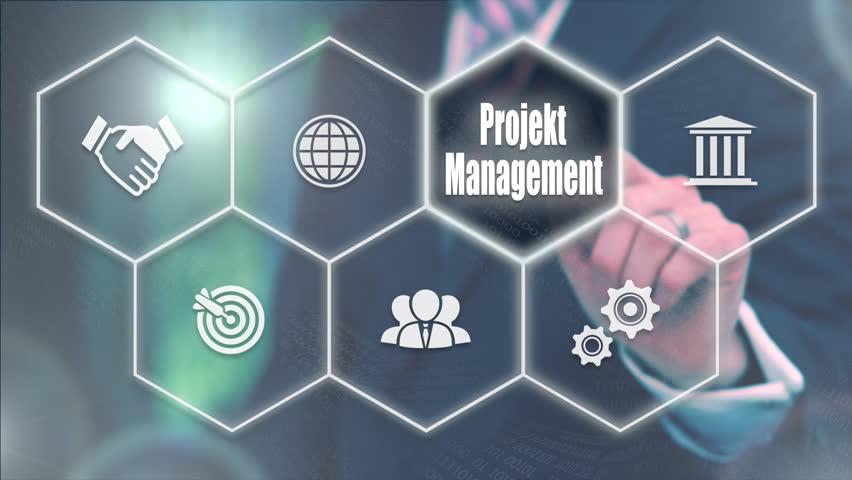 A businessman pressing a Project Management
