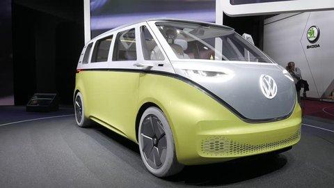 Geneva, Switzerland, March 06, 2018: metallic silver yellow Volkswagen VW ID Buzz Concept Car at 88th Geneva International Motor Show GIMS