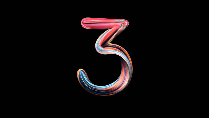 Number 3 - Playdough numbers 3D animation, with alpha channel for titles and intros.