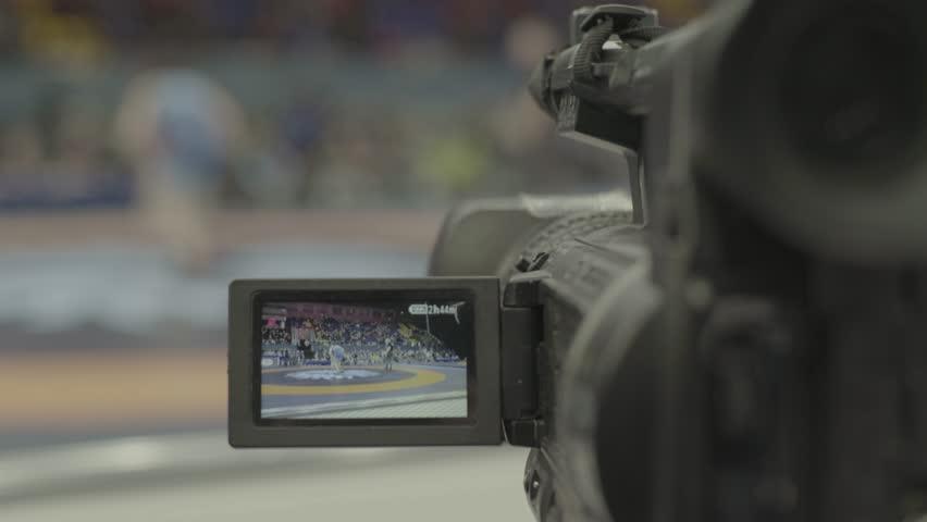 TV camera during shooting. Media, news, press, journalist, live, broadcast | Shutterstock HD Video #1009233383
