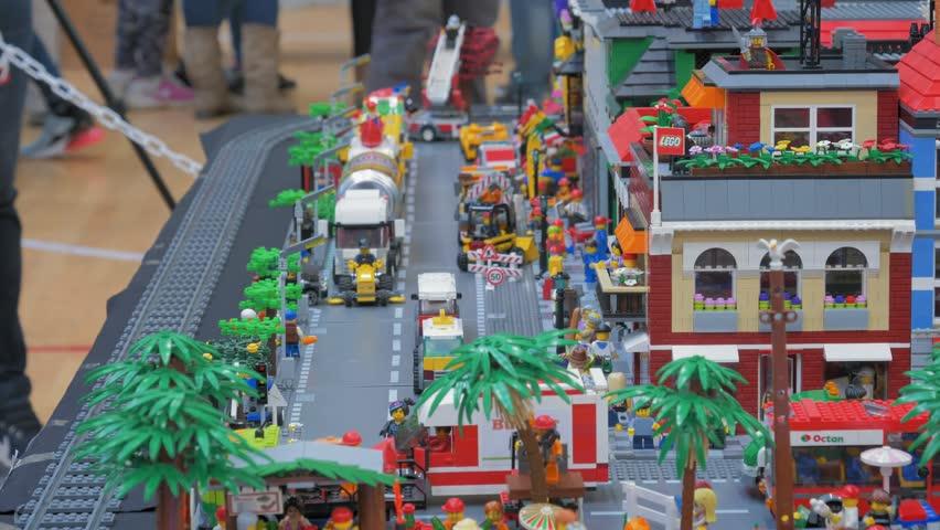 SV. IVAN ZELINA, CROATIA - March 25: Lego blocks expo convention. Electronic Lego blocks fair.