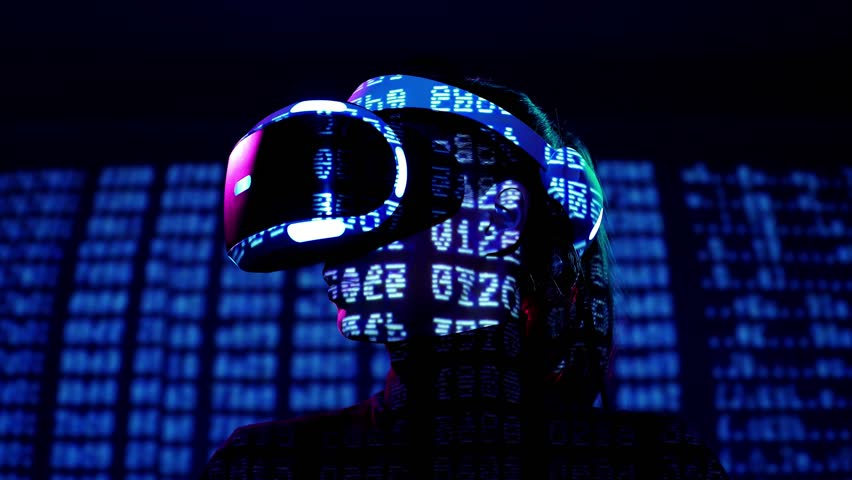 Profile portrait of young woman in VR headset with symbols and numbers projection. Virtual reality interactive helmet on brarcode matrix background
