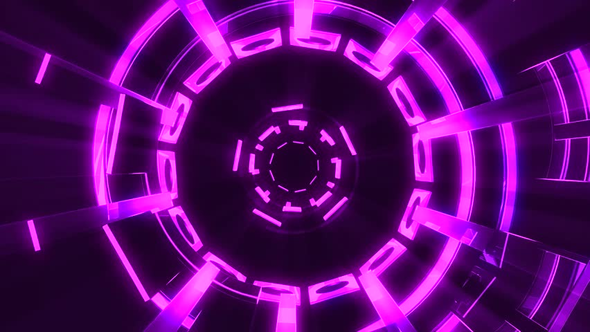 Flight in out through block grid neon lights abstract cyber tunnel motion graphics animation background loop new quality retro futuristic vintage style cool nice beautiful video footage #1009274633