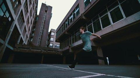 Free running gymnastic acrobat super slow motion