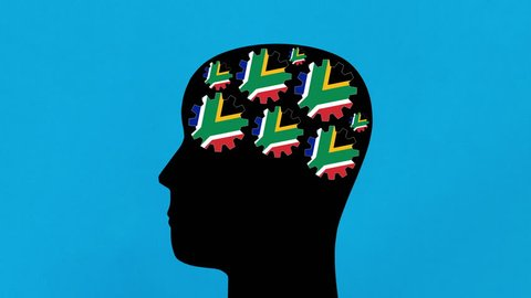 Turning south african flag gears in human head profile
