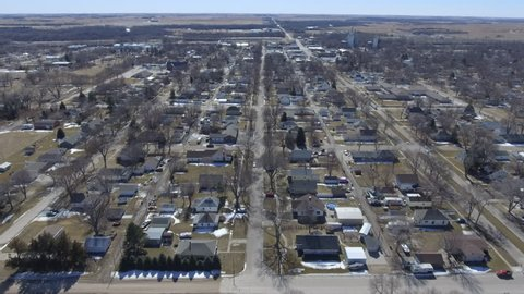Flying over the town of Ravenna in Nebraska.