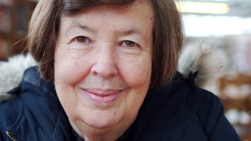 Female Cancer Treatment Survivor Happy, Brave Mature Woman, Portrait In Coffee Shop