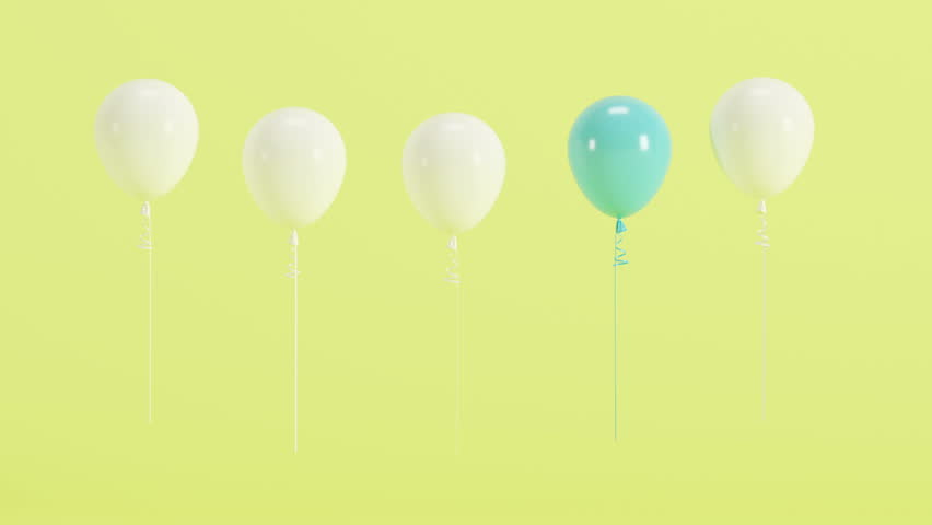 Outstanding blue balloon floating from right view with white balloons on green background. 3d animation present. | Shutterstock HD Video #1009349753