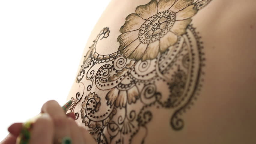 View Of Female Naked Body Decorated With Henna Stock -9400