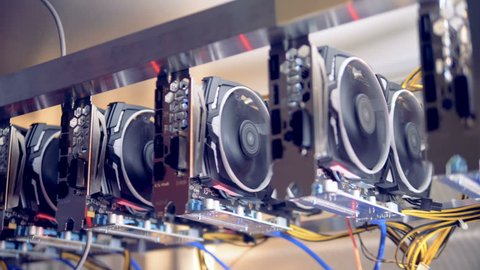 Racks with graphic cards in modern cryptocurrency mining Data Center.