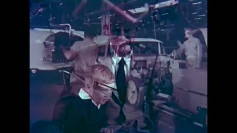 CIRCA 1950s - Flint Michigan is a bustling city in this 1950's film from General Motors celebrating the building of the 50 millionth car.