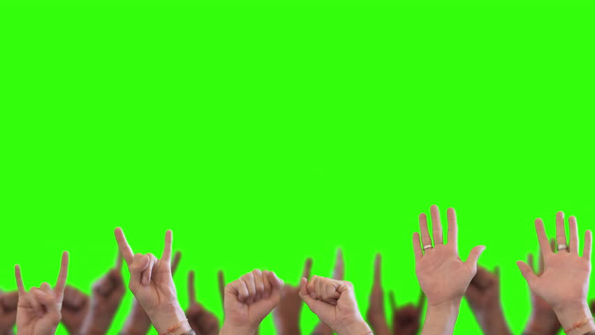 Cheering Hands Crowd of People. Cheering crowd happy waving their hands on green screen background | Shutterstock HD Video #1009366373