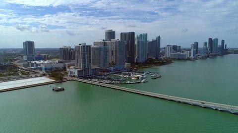Aerial video Venetian Causeway Miami Florida Biscayne Bay