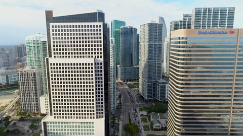 BRICKELL, FL, USA - APRIL 1, 2018: Aerial drone above Miami reveal Brickell Bridge River