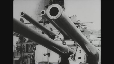CIRCA 1917 - The artillery aboard a US warship is shown.