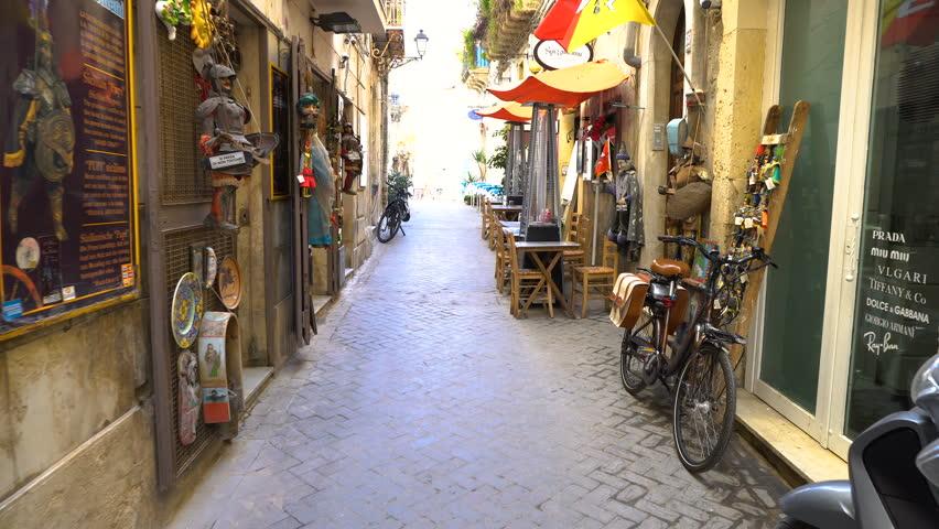 Typical old street,  Italy, Sicily  Ortigia Island, Syracuse