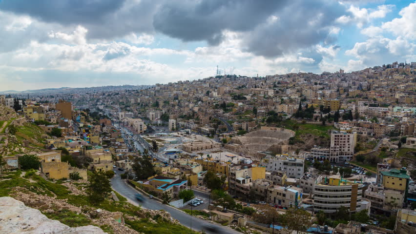 Amman, Jordan City Skyline on Cloudy Afternoon 4K