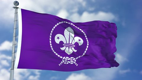 Scout purple flag waving against clear blue sky, close up, isolated with clipping path mask luma channel, perfect for film, news, composition