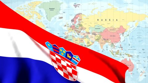 The waving flag of Croatia opens up the view to the position of Croatia on a colored world map