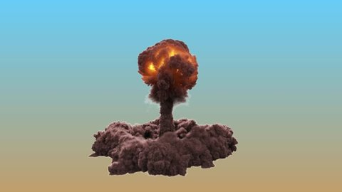 Nuclear bomb explosion. Realistic slow motion 3D animation of atomic bomb fiery mushroom cloud with fire and smoke. VFX element with alpha channel matte. Ultra High Quality 4k footage.