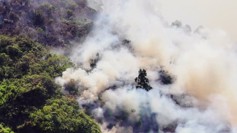 Rising Smoke And Fire Of A Forest Fire In The Mountains Of Banos Ecuador