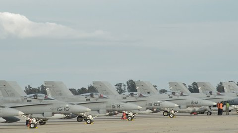 Military fighter planes in a airport