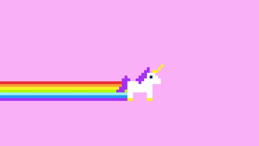 Pixel Art Style Unicorns and Rainbows Animated Background 4K Clip.