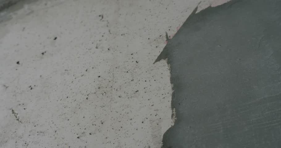 Amazing Handheld Shot Of Concrete Interior Walls   4K Stock Footage Clip