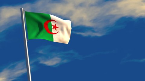 3D animation of an Algerian flag waving on a flagpole, bright blue animated sky and motion blur for dramatic effect.
