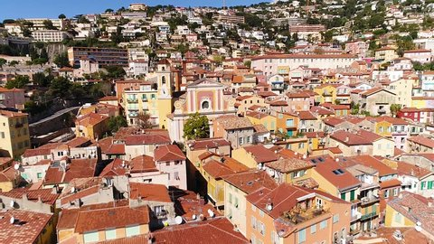Villefranche sur Mer-March 12-2018 - Aerial view of Villefranche-sur-Mer, a famous village on the French riviera, HD (1920X1080)