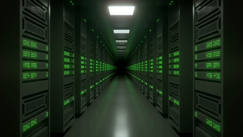Loop-ready tracking shot of an endless data center server room with blinking green LED lights.
