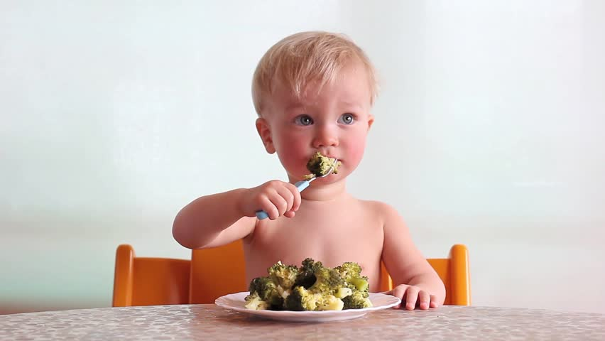 baby clap his hands and eats with pleasure steamed broccoli by fork and hand, happy kid, white background