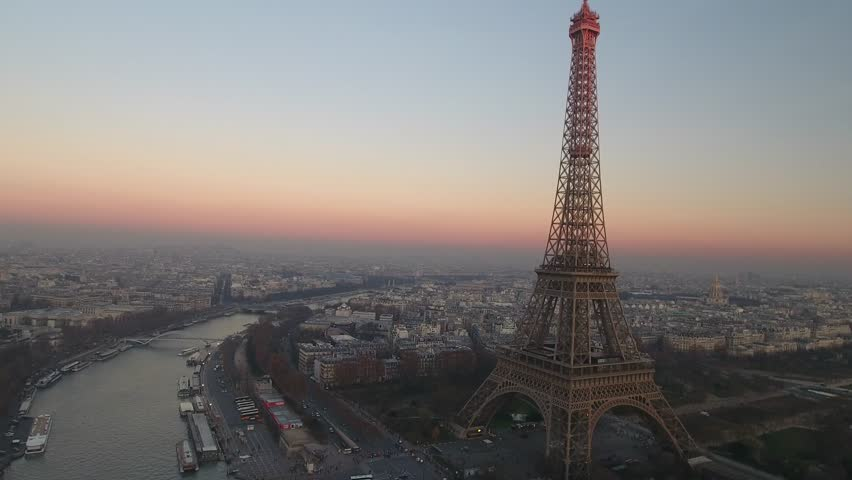 Aerial view over Paris and Tour Eiffel | Shutterstock HD Video #1009647293