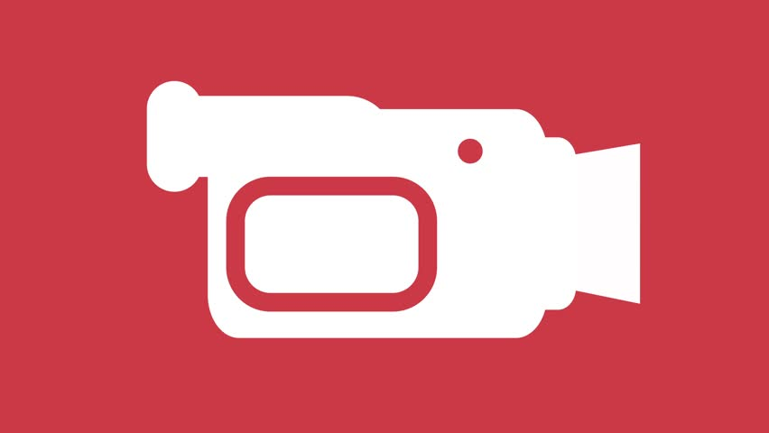 Camcorder video camera Icon symbol motion graphics in and out animation red white
