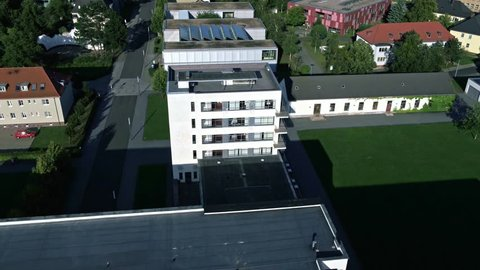 Breathtaking aerial view of Bauhaus in Dessau, Germany, made with drone