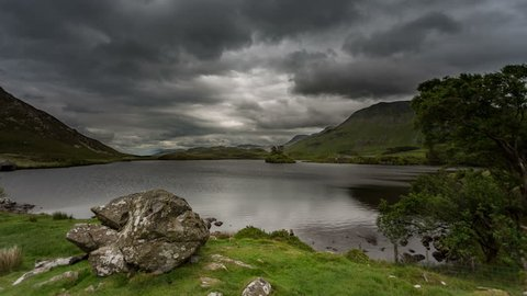 4k time lapse of storm clouds over Cregennan Lakes, Snowdonia, Wales