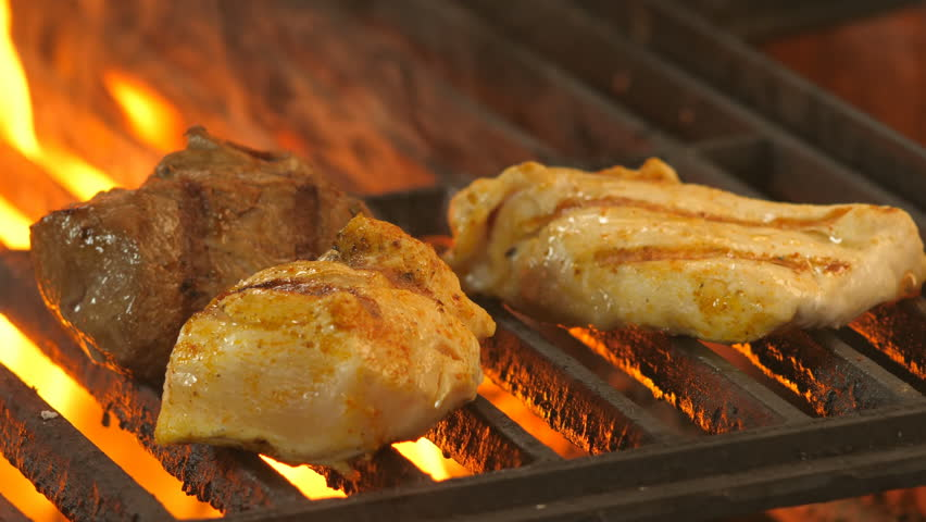 Grill, roast fresh meat, grilled chicken, two pickled chicken fillets and medallion with beef, spices, pepper, salt, turmeric